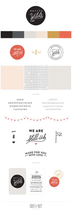 Native Wilds brand board and identity, logo etc by Grit and Wit Design