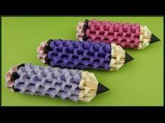 DIY | 3D Origami | Papier Stifte Deko | Paper Pencil / Pen | Back to school idea - YouTube