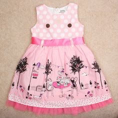 Baby girl dress for girl clothes toddler dress summer sleeveless pink cotton brown girl party tutu dress princess lace ribbon