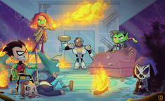Titans live action as teen titans go Teen Titans Go Characters, Teen Titans Fanart, Batman Comics, Dc Comics, Live Action, Cn Fanart, Teen Titans Love, Raven Beast Boy, Drawing Superheroes