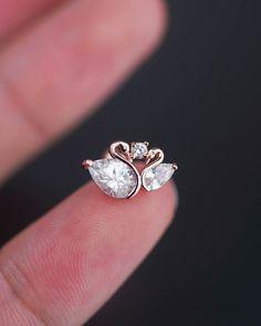 Knorpel-Ohrring Tragus Ohrring Knorpel piercing Helix Ohrring Tragus piercing Helix piercing 16g 16 Messgerät Conch piercing Schwan