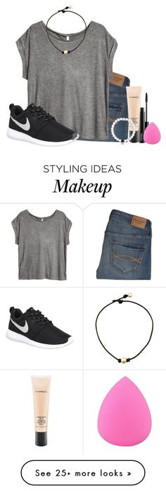"""""""you wanted this, not me. so why keep staring at me?"""" by ellababy13 on Polyvore featuring Abercrombie & Fitch, MAC Cosmetics, H&M, Zodaca, NIKE, women's clothing, women's fashion, women, female and woman"""