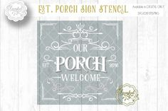 PORCH Sign Stencil ~ Cutting File ~SVG/DXF/PNG/EPS By Sparkal Designs
