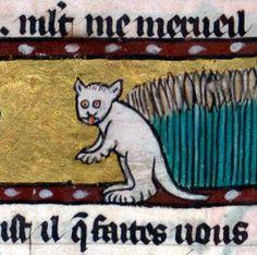 white cat Roman de Renart, France ca. 1300-1350 (BnF, Français 12584, fol. 51v)