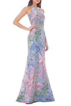 Image of Carmen Marc Valvo Infusion Sleeveless Brocade Gown Green Wedding Dresses, Formal Dresses, Chic Dress, Dress Up, Whimsical Dress, Brocade Dresses, Column Dress, Nordstrom Dresses, Pretty Dresses