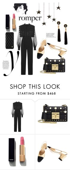 """""""Romper Set"""" by haylinbing ❤ liked on Polyvore featuring self-portrait, Gucci, Chanel, Marc and Lizzie Fortunato Jewels"""