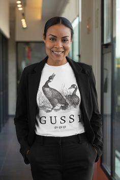 G U S S I t-shirt, womens or unisex slogan shirt My T Shirt, Slogan, Custom Shirts, Bomber Jacket, Graphic Sweatshirt, Etsy Shop, Unisex, Tattoo, Trending Outfits