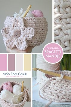 Basket with flower tutorial, in Dutch, by Klein Zoet Geluk. - Now I just have to translate the pattern :) Crochet World, Crochet Home, Crochet Yarn, Diy Crochet Basket, Cotton Cord, Chunky Yarn, Flower Tutorial, Learn To Crochet, Crochet Projects