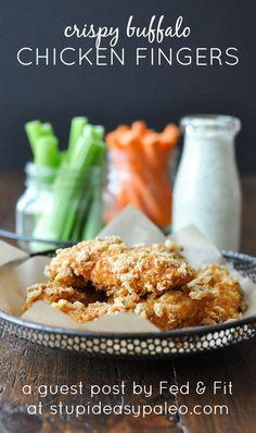 Crispy Buffalo Chicken Fingers—Fed & Fit | stupideasypaleo.com