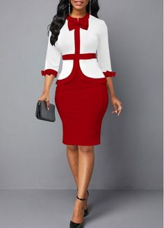 Cocktail Party Dress Color Block Bowknot Embellished Faux Two Piece Dress Short African Dresses, Latest African Fashion Dresses, Women's Fashion Dresses, Elegant Dresses Classy, Classy Dress, Classy Work Outfits, Two Piece Dress, Colorblock Dress, Clothes For Women
