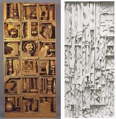 Louise Nevelson sculptures composed of wood scraps and found objects
