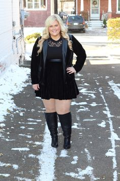 Killer Kurves // Junarose Alyssa Lace Leotard Mixed Media Blazer Flared Mixed Media Skirt Plus Size Skirts Plus Size Blazers Plus Size Bodysuits 1