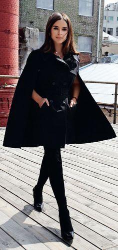 Luv to Look | Luxury Fashion & Style: Cape trench coat on Miroslava Duma