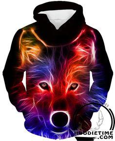 Radiant Colorful Wolf Hoodie - Pullover 3D Hoodie