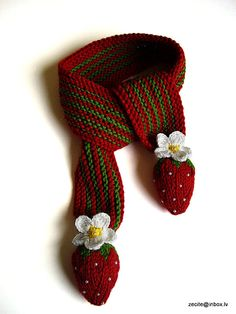 Red strawberry scarf for little Lady hand knit baby by MiaPiccina, $20.00