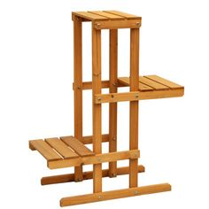 Indoors or out, this 3-tier plant stand can be used to accent a small space or create a decorative display. It's great for tall and extra-tall blooms. Best of all, it's crafted from solid wood harvested from the Cypress tree family with decay resistance similar to Western Red Cedar.   Product Features:     Made from solid wood harvested from the Cypress tree family with decay resistance similar to Western Red Cedar Medium brown stain with a protective coating for worry-free outdoor use 3…