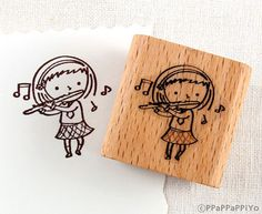 43 OFF SALE Flute playing girl Rubber Stamp by ppappappiyo on Etsy, $2.85