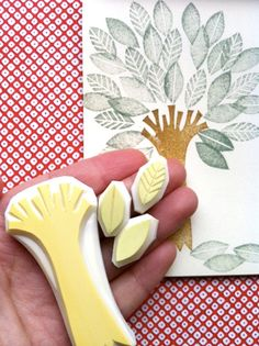 tree and leaf rubber stamps. hand carved rubber by talktothesun
