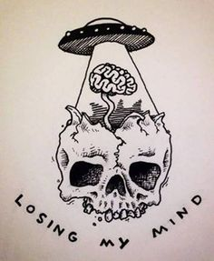 #psychedelic #trippy #skull #skeleton #ufo #aliens #brains #losingmymind #art #artistic #drawings #peace #love #music #rocknroll #vegetarian #tumblr #quotes #awesome #vintage