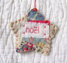 Star Starz Ornament - NOEL - Stitched From Recycled Vintage Quilt Piece