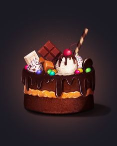 Candy Cake by AlexandraTirado on DeviantArt Birthday Cake Illustration, Dessert Illustration, Cupcake Vector, Cupcake Art, Bakery Business Cards, Candy Games, Cake Drawing, Cookie Cake Birthday, Cute Food Drawings