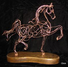 Copper plated hand wrought steel wire sculpture of Saddlebred available for purchase.