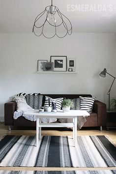 Brown Couch w/Black and White Accents