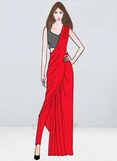 Bollywood Vogue Custom Made Red Pant N Saree Fashion Model Sketch, Fashion Sketches, Fashion Models, Fashion Trends, Women's Fashion, Ladies Fashion, Fashion Hacks, Young Fashion, Fashion Designers