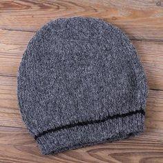 Alpaca hat, 'Minimalist by Design' - Mottled Grey Alpaca Hat Beanie Knit by Hand in Peru