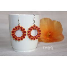 Pink and Golden Yellow Paper Quilled Earrings