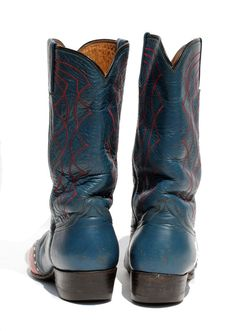 vintage leather blue cowboy boots