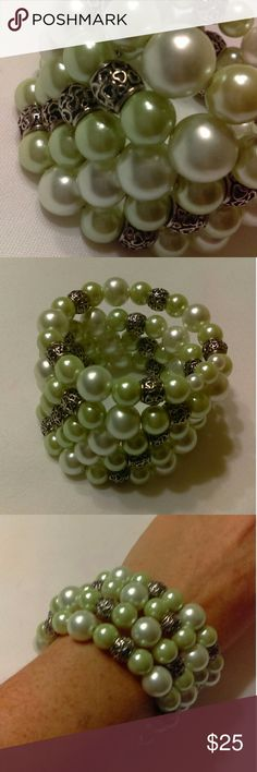 Handmade Memory Wire Bracelet Green/White/Silver Handmade memory wire bracelet made with green & white glass pearls and antiqued silver accents. Jewelry Bracelets