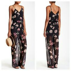 "Romeo and Juliet Couture Floral Black Jumpsuit NWTs. 100% poly with adjustable straps. 59"" in length and 28"" inseam. Romeo & Juliet Couture Pants Jumpsuits & Rompers"