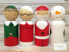 Items similar to Santa and Friends Peg Doll Playset on Etsy Wood Peg Dolls, Clothespin Dolls, Childrens Christmas, Christmas Wood, Doll Crafts, Diy Doll, Wooden Pegs, Kokeshi Dolls, Little Doll