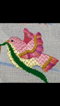needlepoint bird, designer unknown