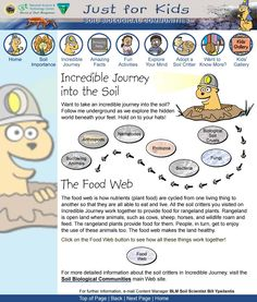 """WEB SITE  From BLM/NSTC """"Soil Biological Communities for Kids: Interactive tutorial, activities and more."""