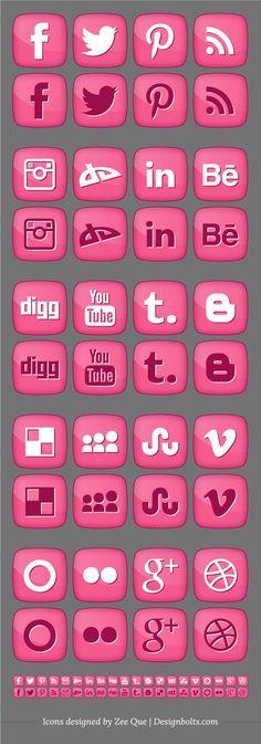Free Pink Girly Social media Icons