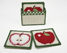 Country Pears Coasters Pattern in Plastic Canvas by littlesapphire