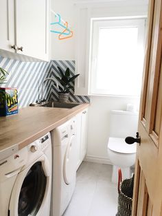 Washing machine, tumble dryer, sink and a toilet - now all upstairs. Laundry Room Layouts, Laundry Room Bathroom, Small Laundry Rooms, Laundry Room Design, Bathrooms, Small Downstairs Toilet, Small Toilet Room, Small Utility Room, Utility Room Storage