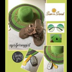 {SUN -n- SAND}-- floppy hat  BNWT Gorgeous floppy straw like hatbnwthas a unique design with tan and brownsthin bow with sns silver platejust adorable!!!  Sun n Sand Accessories Hats