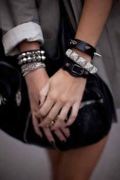 Hot studded jewellery! The perfect accessories to add a bit of girly grunge to your wardrobe. #Studs #fashion #girl