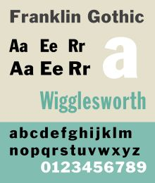 """Franklin Gothic and its related faces are realist, """"grotesque""""-style sans-serif typefaces originated by Morris Fuller Benton (1872–1948) in 1902. Franklin Gothic has been used in many advertisements and headlines in newspapers. Despite a period of eclipse in the 1930s, after the introduction of European faces like Kabel and Futura, they were re-discovered by American designers in the 1940s and have remained popular ever since."""