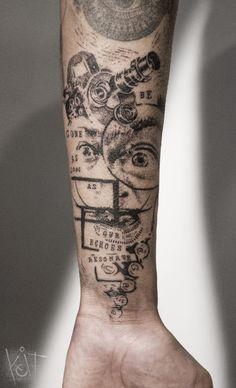 Koit Tattoo Berlin. Graphic style forearm black tattoo with a portrait of Salvador Dali, geometric shapes and quotes. | Inked | Tattoo ideas | Berlin tattoo artist | Body art | Tattoos for guys | Arm tattoo | Inspiration | Ink | Photoshop style tats | Tumblr #tattoosmensforearm