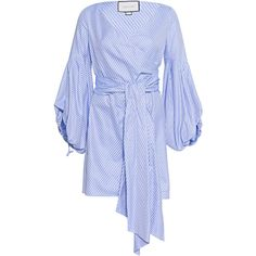ALEXIS Mana Blue White // Wrapped cotton dress ($715) ❤ liked on Polyvore featuring dresses, long sleeve dress, cotton dress, bell sleeve dress, mini dress and long sleeve wrap dress