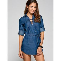 Front Lace Up Denim Mini Dress