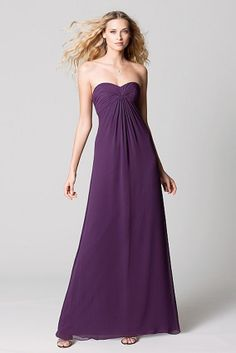 Watters WTOO 389 Plum crinkle chiffon strapless shirred empire bodice with floor-length skirt.