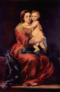 La virgen del Rosario, Bartolome Murillo.  Museo del Prado, Madrid, España.