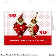 Happy Valentine's Day. Funny Vintage Kids design Valentine's Day Greeting Cards with customizable greeting. Matching Cards, postage stamps and other products available in the Holidays / Valentine's Day Category of the oldandclassic store at zazzle.com