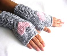 Gray Fingerless Wool Gloves with a pink heart, Mittens, Arm Warmers , Hand Knitted, Eco Friendly