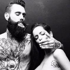 Black and White smoke hipster tattoo inked girl cigarette tattooed girl beard tattooed boy inked boy girl with tattoos Boy With ricki hall Tattoo Girls, Boy Tattoos, Couple Tattoos, Trendy Tattoos, Tattoos For Guys, Sleeve Tattoos, Tattoos For Women, Tattoo Ink, Tattooed Couples Photography